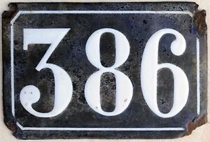Large old black French house number 386 door gate plate plaque enamel metal sign