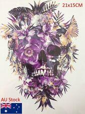 Skull purple Flower scary Tattoo Waterproof Hot Temp Tattoo Body art Sticker