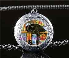 Black Cat In Bookshelf Cabochon Glass Tibet Silver Locket Pendant Necklace
