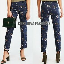 EX H&M Slacks Floral Print Super Stretch Cigarette Trousers Pant Size UK 8-16
