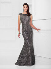 NEW MONTAGE Mon Cheri 117922 Formal Evening PEWTER GOWN Size 6 Social Occasion