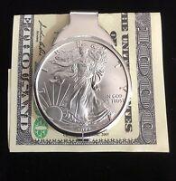 1 oz Silver Dollar Liberty Coin Sterling Money Clip 2019 ASE .999 pure bullion