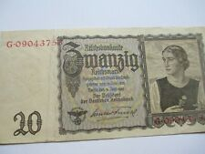 Pick 185 20 Mark 1939 Germany Crisp Unc Banknote