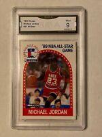 MICHAEL JORDAN BASKETBALL CARD - 1989 NBA HOOPS #21 ALL STAR - RARE GRADED MINT
