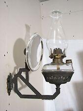Antique Oil Lamp Wall Bracket Mercury Glass Reflector Fluid Queen Anne Light D