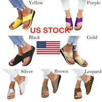 US Women Comfy Platform Sandal Ladies Shoes -PU LEATHER- Bunion Corrector GIFT