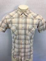 Lucky Brand Men's sz M Short Sleeve Beige Plaid Pearl Snap Shirt