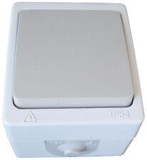 Aufputzschalter Ein/Aus IP54 10A/250V Feuchtraum VDE 414001