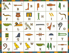 A3 Poster – The Egyptian Hieroglyphic Alphabet (Picture Pyramids Sphinx Art)