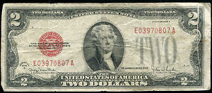 """1928-G $2 TWO DOLLARS RED SEAL USN UNITED STATES NOTE """"GUTTER FOLD ERROR"""""""