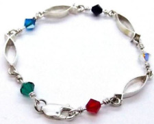 ACTS Bracelet Fishers of Men Sterling Silver, Crystal Beads!!