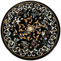 "24"" Marble Black Round Top Coffee Table Birds Marquetry Inlay Living Decors E594"