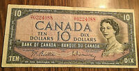 1954 CANADA 10 DOLLAR BANK NOTE - O/T - Beattie / Rasminsky