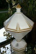 Vintage Westmoreland Glass Art Deco Milk Glass Candy Dish White with Gold Trim