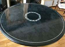 "18"" Black Marble Table Top inlay Pietra Dura Art Handicraft room Decor"
