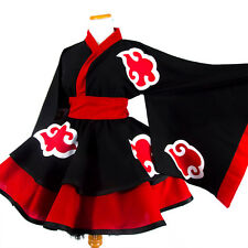 Woman Anime NARUTO Fire Cosplay Costume Dress Skirt Kimono Princess Maid Party