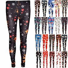 Womens Ladies Stretchy Snowman Xmas Reindeer Head Candy Gifts Christmas Leggings