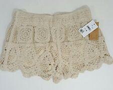 Surf Gypsy Swimsuit Coverup Shorts Size Medium Ivory Crochet Scalloped NEW