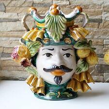 Testa Ceramica SIciliana Caltagirone Uomo Verde H.28
