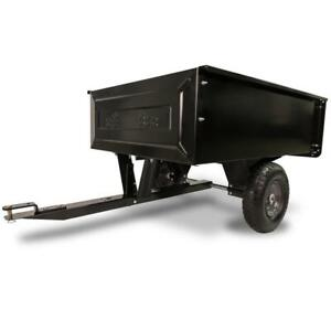 Steel Dump Cart Garden Yard Lawn Mower Tractor Trailer 10 cu. ft. Wheels NEW