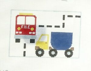 Kathy Schenkel Trucks Boys Tooth Fairy Pillow Handpainted Needlepoint Canvas