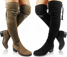 NEW WOMENS LADIES CHUNKY BLOCK LOW HEEL THIGH HIGH OVER KNEE TASSEL BOOTS SIZE