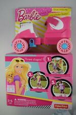 Fisher Price Barbie Grow With Me 1-2-3 Roller Skates Pink Child Size 6-12 New