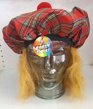 Scottish Tam O' Shanter Tartan Hat With Attached Red Hair And Bobble Top