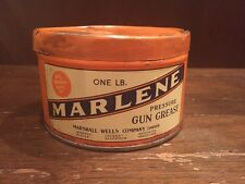 Antique Marshall Wells Co Marlene Pressure Gun Grease Tin 1lb Pound Can Vtg Oil