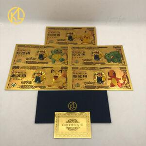5pcs Pokemon Pikachu Collective Original Anime Gold banknotes set New Year Gift