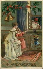 Christmas - Santa Claus at Window Dropping Toys & Cookies? Gel Postcard