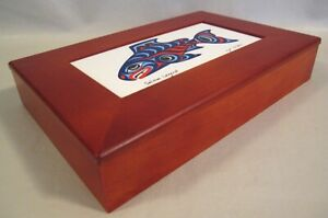 Salmon Legend Ceramic Tile & Wood Box w/Lid Alaskan Joe Wilson Native Signed Art