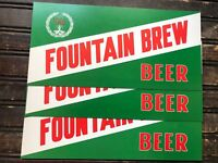 "Vintage Fountain Brew Beer Cardboard Display Sign LOT of 3 Measures 12.5"" x 6"""