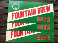 "Vintage Fountain Brew Beer Cardboard Display Sign 12.5"" x 6"" Fountain City WI"