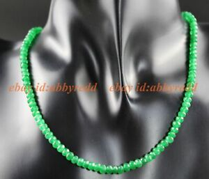 2x4mm Natural Faceted  Gemstone Beads Necklace 15''-25'' AAA