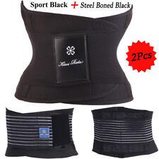 2 Pcs  L Black Waist Trainer Training Cincher Girdle Body Shaper Athlectic Belt