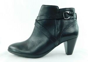 "New Nurture Women's Size 6 1/2 M Black Leather Heeled Ankle Boots 2 1/2"" Heel"