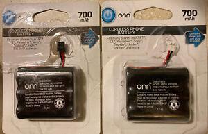 LOT OF 2 Onn Cordless Phone Battery 3.6V 700 mAh NiMH Batteries Fits Many Phones