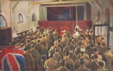 Postcard WW1 King George V at the Front Church Service unposted