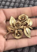 Vintage 1950's Gold Tone Rose Posey Button Hole Brooch Mother Of The Bride