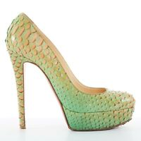 CHRISTIAN LOUBOUTIN Bianca 140 green python snake almond toe platform heels EU37