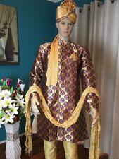 "40"" M Grand Sherwani Suit Indian Bollywood Mens Designer Kurta Purple Gold A14"