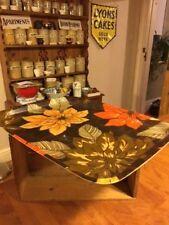 Vintage Colourful Rectangular Fibreglass Serving Tray – Orange Flowers – Great!