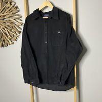 IOU Sports Wear Size XXL Black Corduroy Men's Long Sleeve Shirt 100% Cotton 2XL