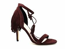 Faith by Debenhams Womens UK 6 EU 39 Wine Suede Leather Tassel High Heel Sandals