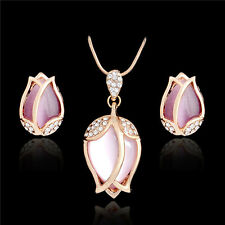 crystal flower necklace and earring set pink opal mum birthday wedding prom 630