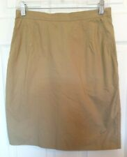 By Malene Birger Womens Size 8 Khaki Brown Cotton Blend Straight Pencil Skirt