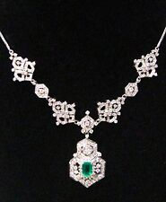 7.0 TCW  Radiant Cut Columbian Emerald Gem Diamond Pendant Necklace 18kt W/G