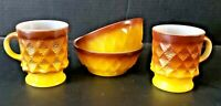 Vintage 2 Fire King Kimberly Yellow Brown Bows & Mugs Retro Anchor  MCM