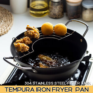 Japanese Tempura Fryer Nonstick Frying Pan Pot Mini Cooking Pot With Drain
